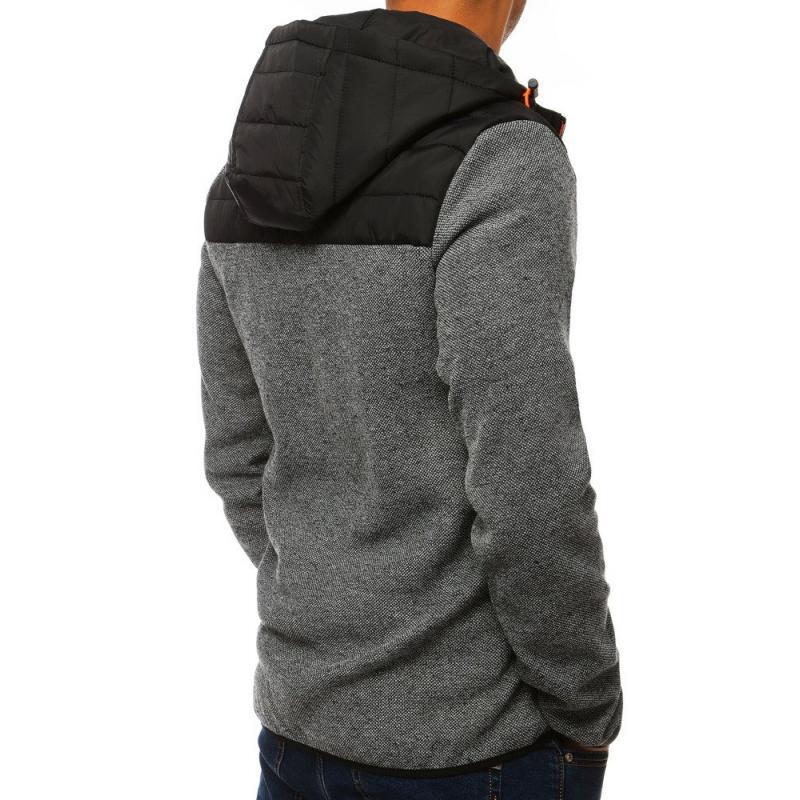 Férfi kapucnis pulóver cipzárral Gray