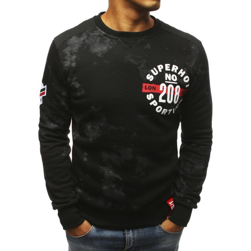 Stílusú férfi pulóver fekete nyomtatási  1fa367b50e
