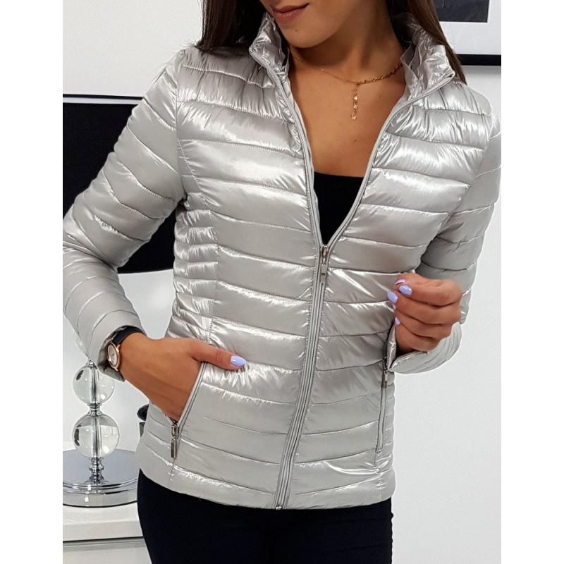 Női steppelt kabát PIERRE ezüst | manCLOTHES.hu