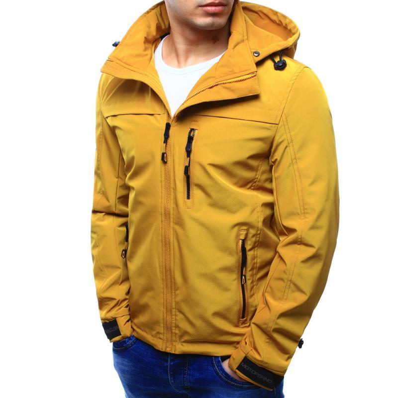 Férfi kabát kapucnival átmeneti sárga  7439cbd5f4