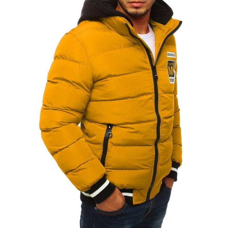 Férfi Style bélelt kabát motorháztető steppelt piros
