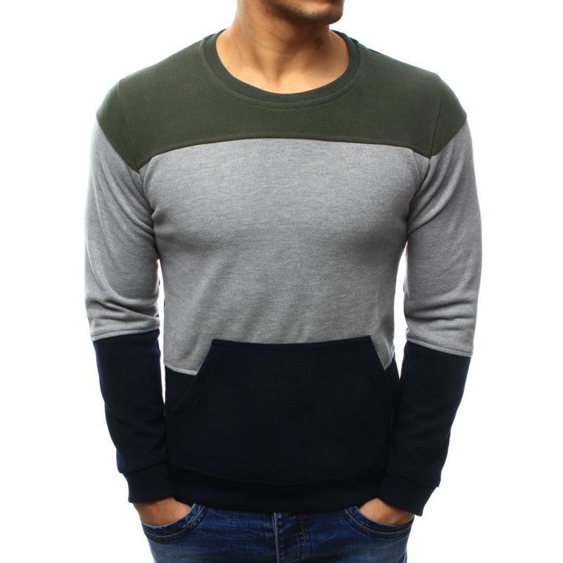 ad40f78239 Férfi elegáns pulóver zsebében sötét kék-szürke   manCLOTHES.hu