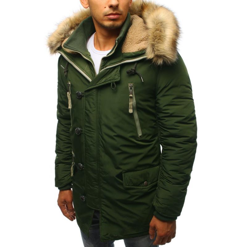Férfi téli kabát sötétzöld  73ffadc64a