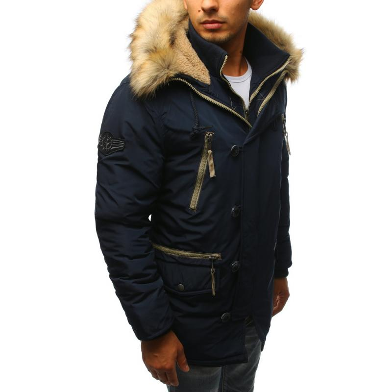 Férfi téli kabát sötétkék  4677e05bda