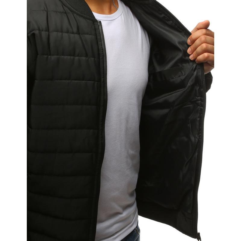 STYLE férfi dzseki, steppelt kabát fekete bombázó