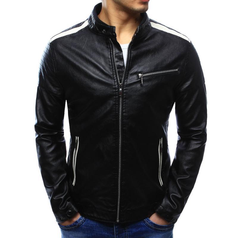 Férfi elegáns fekete műbőr kabát  f39c4b00fa