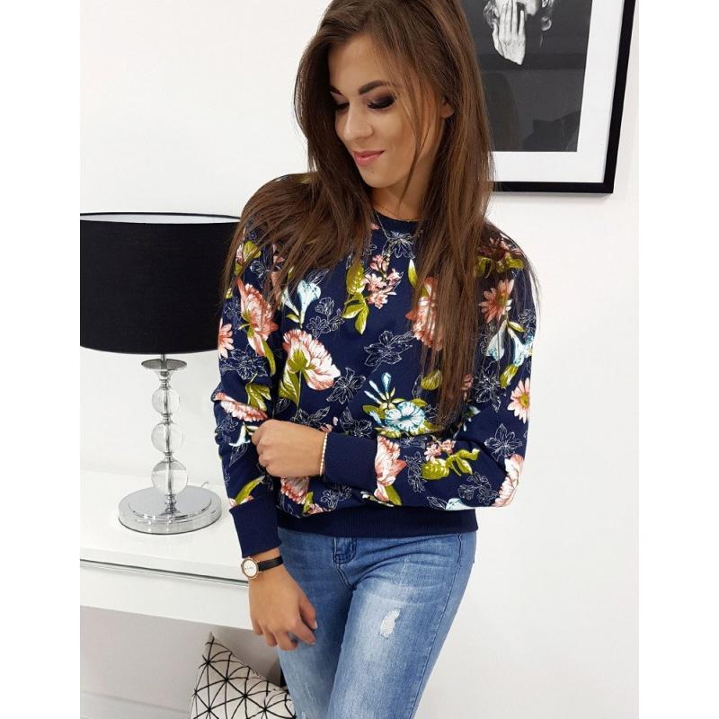 Női pulóver stílusú virág sötétkék virágú | manCLOTHES.hu