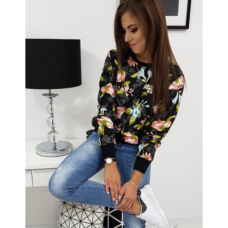 Női pulóver stílusú virág fekete virágos | manCLOTHES.hu