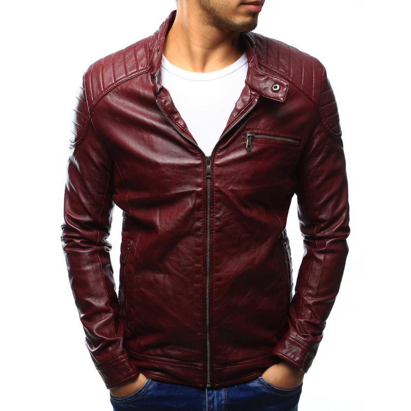Férfi elegáns kabát készült környezetvédelmi bőr bordó  c4fb4155ad