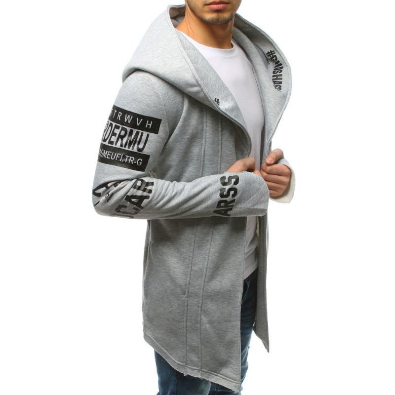 NewStyle Férfi hosszú pulóver kapucnival világosszürke