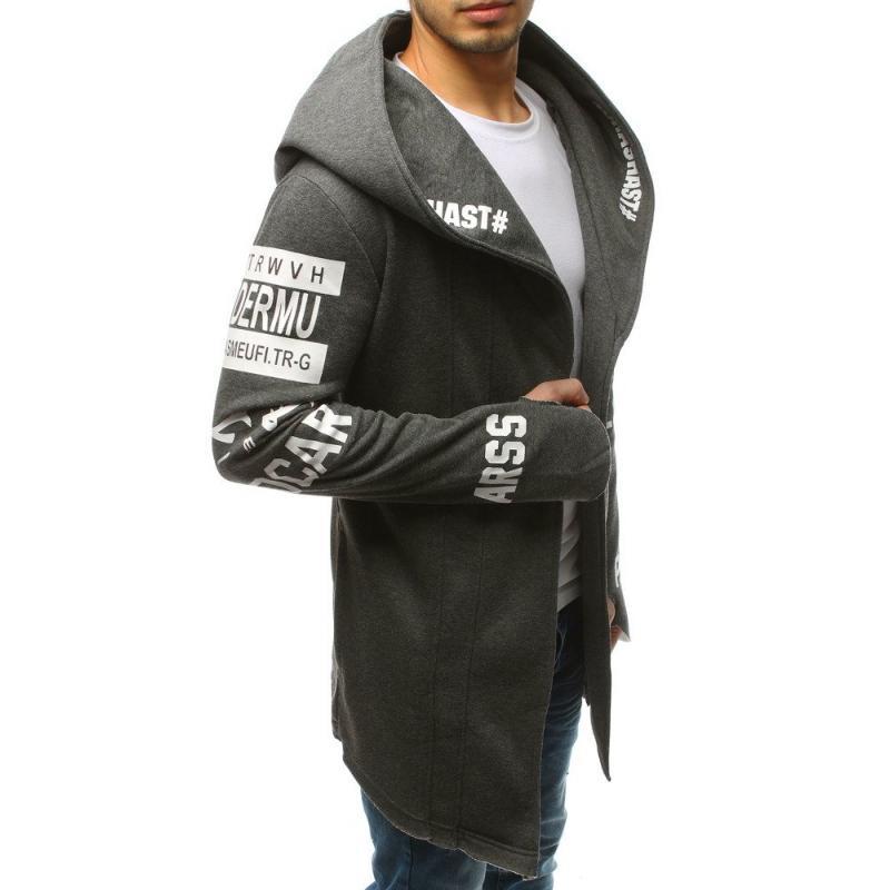 NewStyle Férfi pulóver kapucnival hosszú antracit