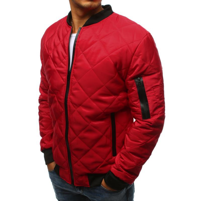 Férfi Style steppelt kabát bomber dzseki piros  46aac01ff4