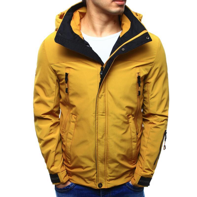 ef11ec3618 Férfi kabát kapucnival átmeneti sárga | manCLOTHES.hu