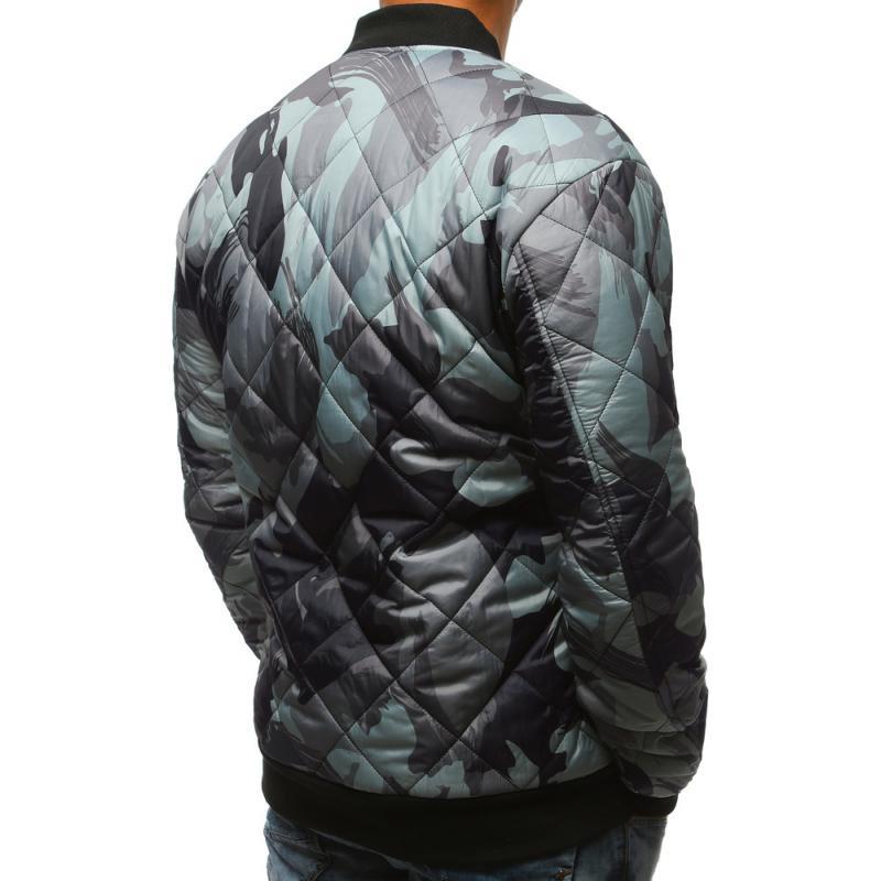 Stílusú férfi terepszínű kabát steppelt kabát bomber szürke terepmintás 90bac83929