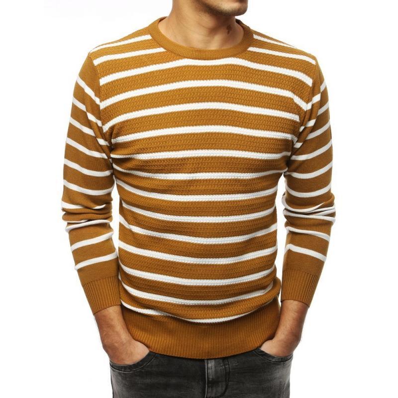 Férfi modern pulóver barna csíkos