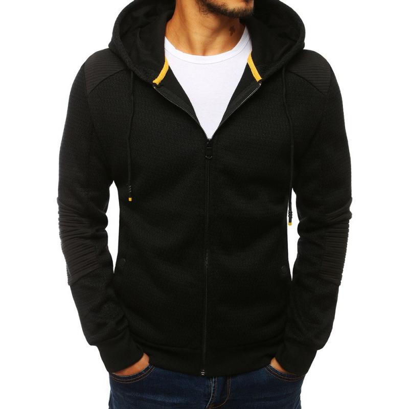 Férfi kapucnis pulóver cipzárral fekete