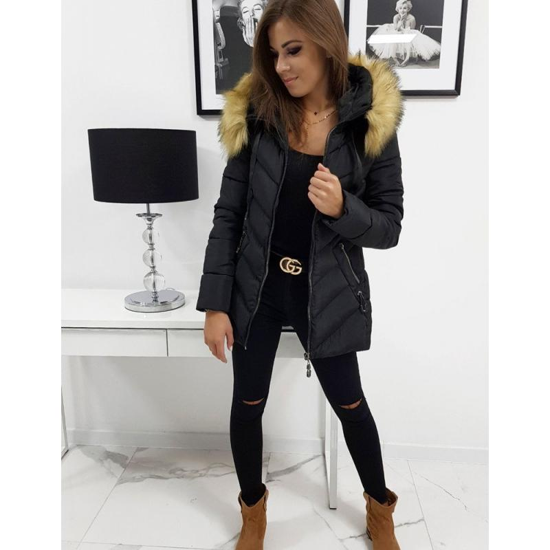 Női téli kabát, fekete SILECIA