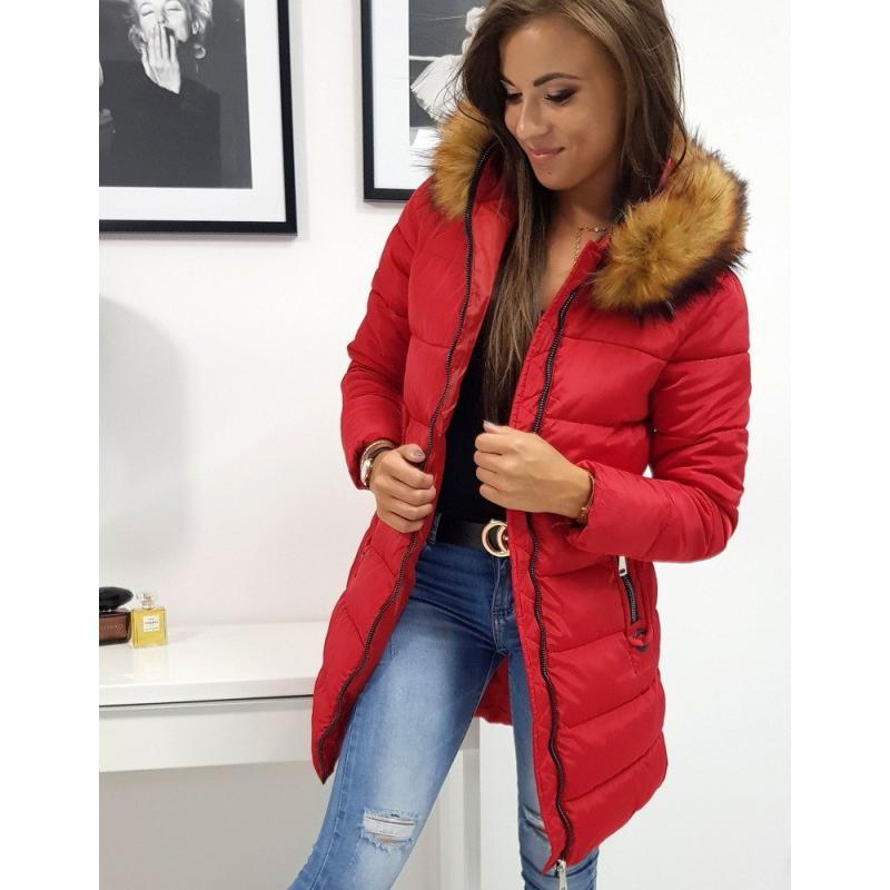 Női téli kabát steppelt piros CARINA