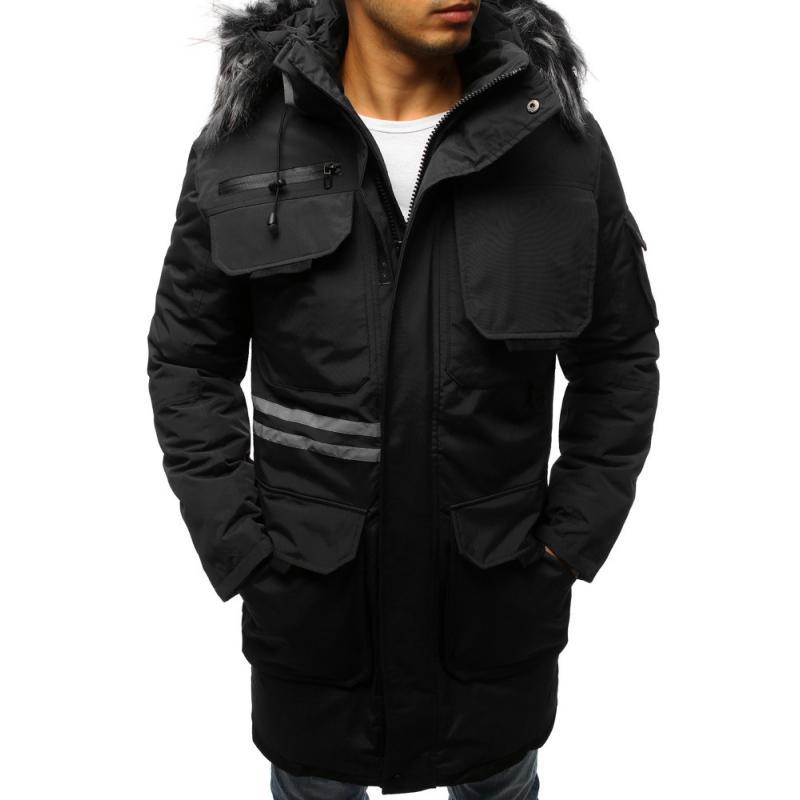 Férfi téli kabát fekete zakó  49d46fc639