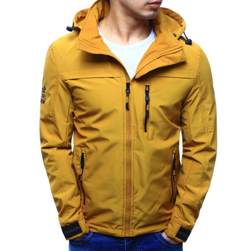 Férfi kabát kapucnival átmeneti sárga  52869a31ac