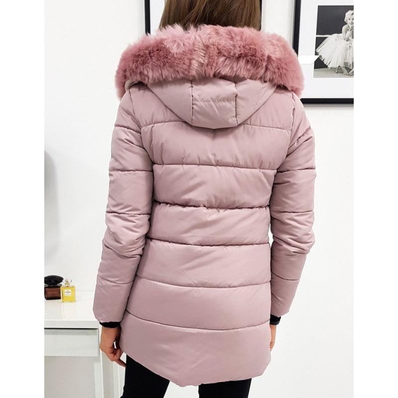 Rózsaszín hosszú női gombos kabát NAOMI FASHION