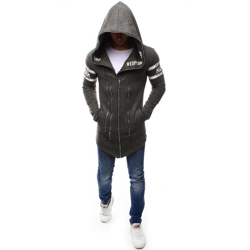 Kapucnis pulóver antracit unzipping  c72371ad9f